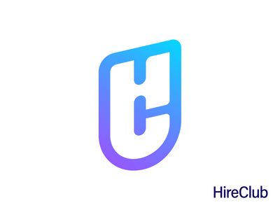 HireClub Logo Design (HC Monogram) people group team hire hr hiring department tech technology purple gradient letter h c combination business social media web branding brand identity logo mark symbol icon