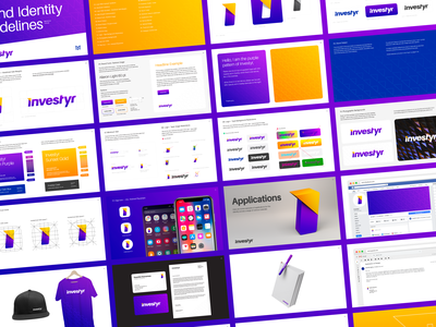 Investyr Brand Guidelines & Identity wordmark logotype purple orange mutual funds wealth increase money investment strategy stocks guidance guide manager advice direction up upwards arrow rise progress tech app application android ios type typography text custom branding brand identity logo mark symbol icon