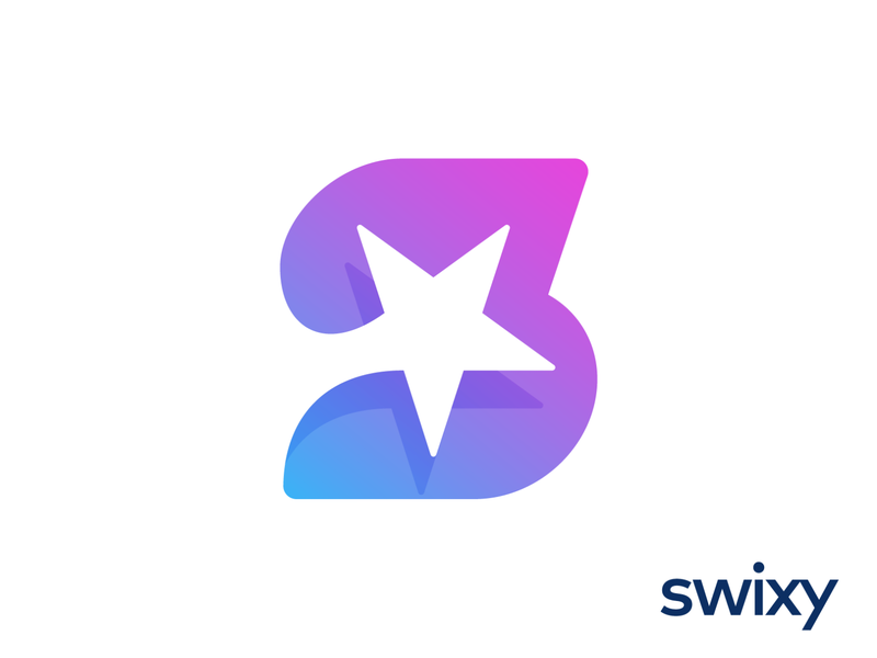 Swixy Logo Design for Marketing Platform neon glow modern vibrant letter s purple blue vector shape negative space star stars universe planet monogram letter alphabet glyph light angle yellow pink fly space speed fast fame celebrity famous cinema business social media web branding brand identity logo mark symbol icon