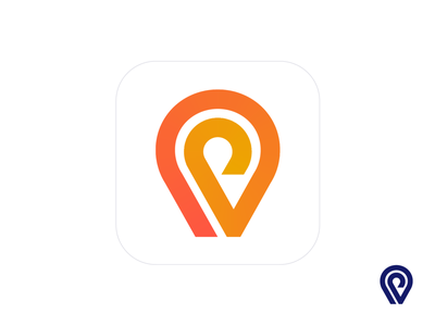 Location Pin Logo Design (Unused for sale) for sale unused buy web marketing social media app ios androind road line lines gradient car auto automotive airport destination path pick up drop off ride taxi airport driver pin location share point branding brand identity logo mark symbol icon