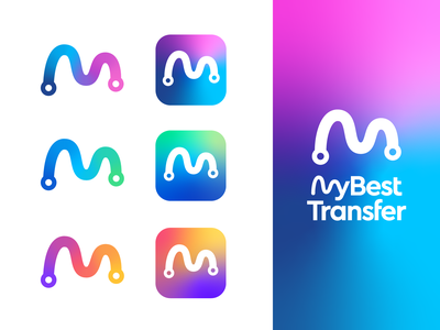 My Best Transfer Logo Design & Color Explorations 03 destination journey travel point a b pick up drop off cab ride car resort route transfer airport taxi letter m mountain road path point map direction lettermark colors colorful happy type typography text custom branding brand identity logo mark symbol icon