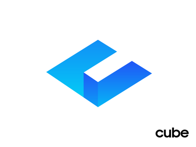 Cube Apps Logo Design Proposal 01 (Unused for Sale) launch start build builder gradient shade highlights black and white solid blue azure cyan bright social media marketing app startup web builder letter c negative space geometric isometry angle sharp cube square shape geometry type typography text custom for sale unused buy branding brand identity logo mark symbol icon