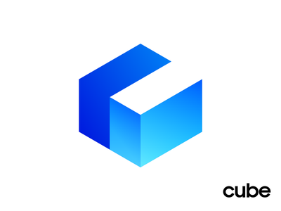 Cube Apps Final Logo Design for Website Builder social media marketing letter c negative space launch start build builder gradient shade highlights geometric isometry angle sharp cube square shape geometry neon glow shine blue azure cyan bright black and white solid app startup web builder branding brand identity logo mark symbol icon