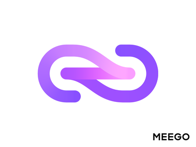 Meego Logo Exploration 01 for Software Product platform integration middleware tech techy technology gradient modern neon glow unity merge path 3d connection link chain unite type typography text custom branding brand identity logo mark symbol icon