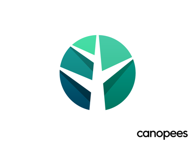 Canopees Approved Logo Design fresh nature natural earth volume effect depth green tree branch grow growth progress help scale high negative space minimal tech agency marketing jungle forest rain tropical gradient shade highlight 3d amazon sales customer branding brand identity logo mark symbol icon
