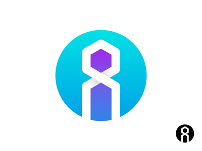 Inoovaty Logo Exploration 02 overlap purple blue cyan line path continuity infinite wordmark custom built type typography text custom gradient black white monochrome 2d 3d shadow depth 2d 3d shadow depth figure sihouetter robotic tech letter i hexagon human branding brand identity logo mark symbol icon