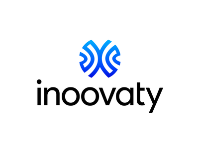 Inoovaty Logo Exploration 04 (Unused for Sale) abstract form shape round two sided mirror reflect lines world colliding balance team expert enterprise big it tech programming software type typography text custom for sale unused buy branding brand identity logo mark symbol icon