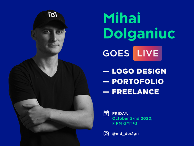 Instagram LIVE w/ Mihai Dolganiuc on Logos, Portfolio, Freelance live video discussion freelance portofolio works branding brand identity logo mark symbol icon