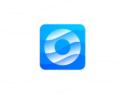 O for Ocean Logo Design (Unused for Sale) ring rounded circle technology it software app tech gradient water fluid curve curves surf surfing surfer wave sea ocean letter o round for sale unused buy branding brand identity logo mark symbol icon