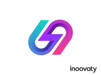 Inoovaty Approved Logo Design for IT Company architecture cloud two worlds colliding together thunder bolt connectivity unity shadow gradient colorful innovation idea concept deliver cloud architecture soft software wordmark type typography text custom branding brand identity logo mark symbol icon