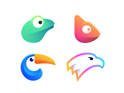 Birds and Animals Collection (Unused) unused for sale app startup toucan frog chameleon eagle forest jungle exotic gradient modern colors colors colorful identity branding logotype logo