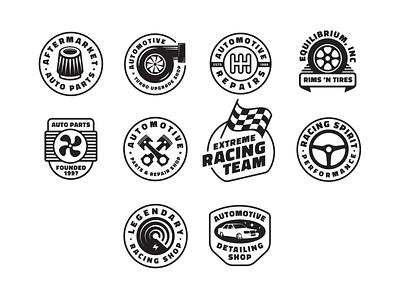 Automotive Badges Editable Templates for sale black white sticker gauge radar piston gear gearbox shift wheel rims tires turbo kit shop speed fast race racing car auto typography custom design badge symbol logo