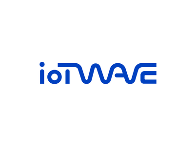 Iotwave Logo Design Proposal 02 line path blue solid company startup binary code connection internetofthings signal analog wave digital technology tech it custom text branding brand identity wordmark typography type icon symbol mark logo