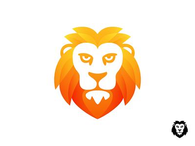 Lion Logo Design (Unused) animal jungle king company tech startup look dominant black and white gradient head face wild wildlife fierce nature illustration for sale unused buy branding brand identity logo mark symbol icon