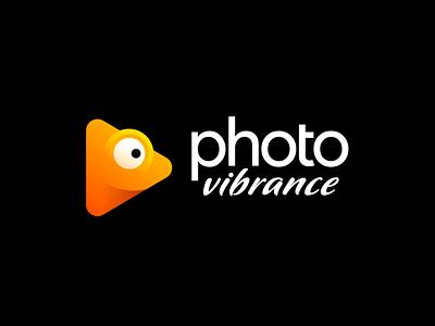 PhotoVibrance Approved Logo Design for Photo Animation App animate social media engage tech startup smile mac os desktop app camera vibrance animal chameleon type typography text custom brand icon mark symbol logo