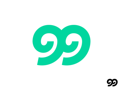 99 Number Logo Exploration speed fast dynamic sport sporty negative space sharp line path round rounded digits digital for sale unused buy branding brand identity logo mark symbol icon