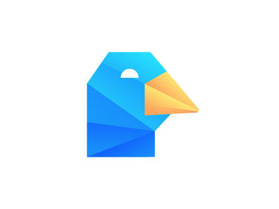 Cyber Duck Logo Design (Unused) origami fold effect 2d 3d app startup business future futuristic low poly sharp corner domestic goose animal for sale unused buy illustration branding brand identity neon glow gradient colorful icon symbol mark logo