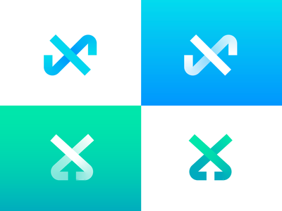 Letter X / Arrows / Directions Logo Exploration success enhance crypto nft neon glow green blue gradient transparency scale progress up upload arrow in out inside outside for sale unused buy type typography text custom branding brand identity logo mark symbol icon