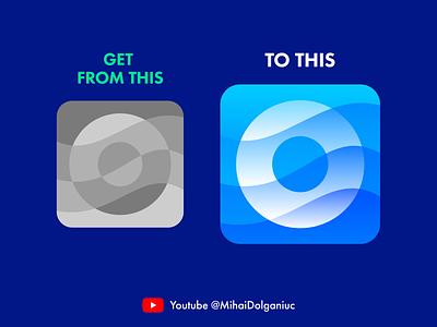 O for Ocean Youtube Tutorial app gradients water sea wave ocean video lesson tutorial youtube branding brand identity icon symbol mark logo