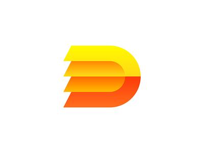 Speedy D Logo Design Exploration (Unused) gradient alphabet avatar it startup tech technology 2d 3d orange speed fast quick layers layered type typography text custom for sale unused buy branding brand identity logo mark symbol icon