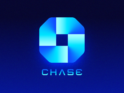 Futuristic Logos #3 — Chase brand identity 3d object connection unity team group 2d 3d light cyber punk bank banking future tech technology neon gradients glow type typography text custom for sale unused buy branding logo mark symbol icon