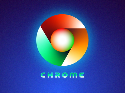 Futuristic Logos #4 — Google Chrome round light lights cyber punk glow gradient neon redesign concept future type typography text custom branding brand identity logo mark symbol icon