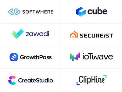 Logotype Collection for Tech Startups (Part Two) animation video resume house safe security wave letter w letter c cube modern media digital company it technology tech startups wordmark text type typography text custom branding brand identity logo mark symbol icon