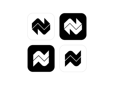 N / Arrows / Directions Logo Exploration (Unused for Sale) rise elevator move motion swipe up left down right location directions lettermark app solid black white monochrome graphic design for sale unused buy branding brand identity logo mark symbol icon