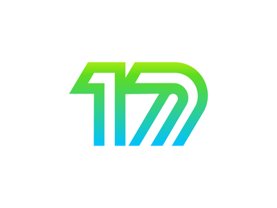 Number 17 Logo Warm Up thick solid startup social media modern tech it gradient fresh green path line lines digits number nr no for sale unused buy branding brand identity logo mark symbol icon