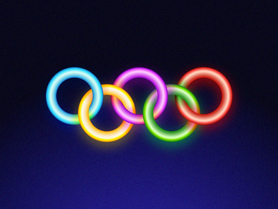 Futuristic Logos #8 — Olympic Games illusion retro gradient shine light bright neon glow sign competition olympic games concept idea redesign vision future circles overlap branding brand identity logo mark symbol icon