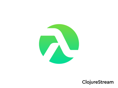 ClojureStream Logo Proposal 02 for Online Course website homepage welcome software tech it round rounded circular tshirt cap apparel corporate visual elements school teaching teacher learn code programmer online video course programming language lambda overlay green developer senior type typography text custom for sale unused buy branding brand identity logo mark symbol icon