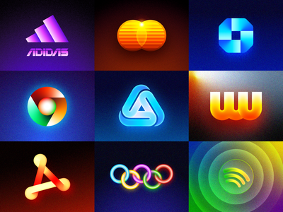 Futuristic Logos Collection for Famous Brands redesign concept idea spotify music player olympic games adobe acrobat reader chase bank adidas sport browser google chrome app store gradients company startup famous brands 3d type typography text custom branding brand identity logo mark symbol icon