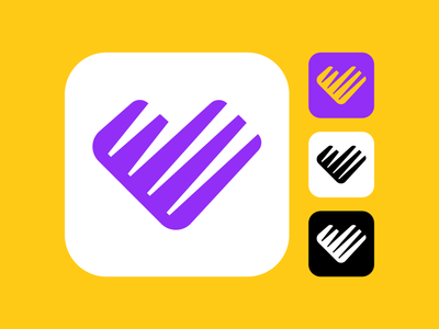 Dating App Logo Proposal (Unused) phone mobile tech technology startup lines cut purple yellow couple date romantic person meet meeting app application ios heart passion love for sale unused buy branding brand identity logo mark symbol icon