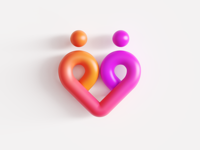 Couple / Relationship / Heart 3D Logo cinema 4d render 3d art gradient modern tech app together man woman soulmate match dating date connection group couple love passion people human for sale unused buy branding brand identity logo mark symbol icon