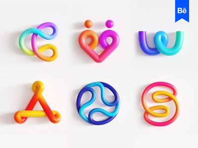 3D Eye Candy Logo Collection cinema4d s illusion wheel round rounded endless a nods w loop cycle couple dating together letter c path overlap tech technology gradient modern glossy shine shiny render rendering art object 2d 3d for sale unused buy branding brand identity logo mark symbol icon