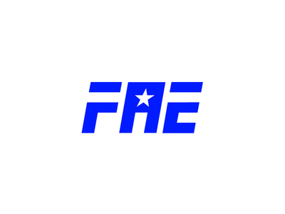 F.A.E. Logo Design angle mark grid lines square text logo type blue star
