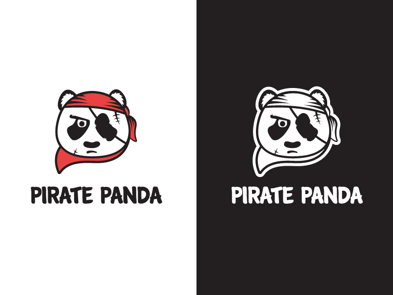 serious panda pirate logo