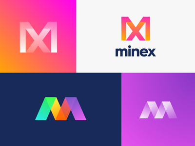 Minex Logo Design (Option 3-4) for sale overlay gradient cryptocurrency bitcoin mining letter x letter m chart stats blockchain startup