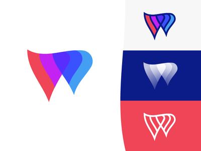 Wic — Mark Ddesign (Option 3) for sale gradient wave mark w symbol w letter w w logo online learning platform modern logo type logo text logo