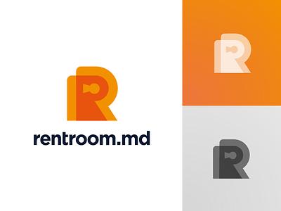 Rentroom Logo Design (Option 1) for rent house real estate overlay double letter r door open key lock room rent