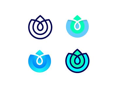 Lotus Logo Exploration grid pure water spa beauty mark symbol clean green blue dark lines gradient solid lotus flower