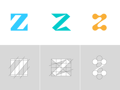 Letter Z Exploration Concept 1 — 3 Grids & Color angle type custom symbol mark black and white identity branding icon symbol logo minimal negative space