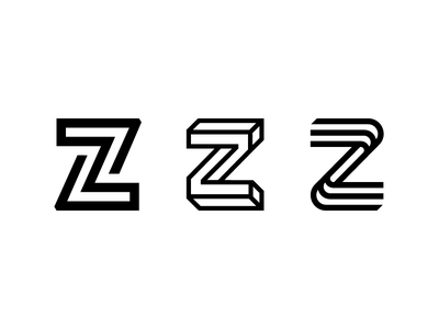 Letter Z Exploration Concept 10 — 12 angle lines round circles type custom symbol mark black and white identity branding icon symbol logo minimal negative space infinte loop