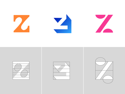Letter Z Exploration Concept 4 — 6 Grids & Color gradient solid blue pink negative space logo minimal identity branding icon symbol mark symbol custom type angle