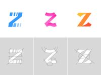 Letter Z Exploration Concept 7 — 9 Grids & Color