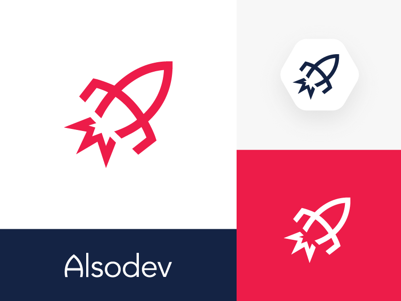 Alsodev Logo & Wordmark Design space galaxy fly brand identity branding website company up direction rocket launch start startup lines clean corporate mark symbol icon shape