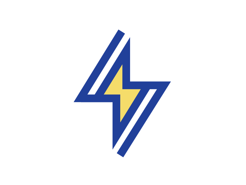Thunder Logo Exploration #1 for sale buy unused startup business company modern blue yellow strike light electricity electric fast lines shape solid thunder brand identity branding graphic logo mark symbol icon
