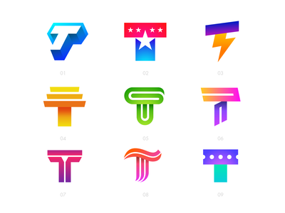 Letter T Exploration — All Concepts 3d volume isometric geometric star freedom usa america thunder lightning fast light type typography text custom gradient marketing social media modern color mix energy stairs temple loop infinite sharp solid flow smooth for sale unused buy ticket booking clean creative app illustration daily brand identity branding graphic logo mark symbol icon