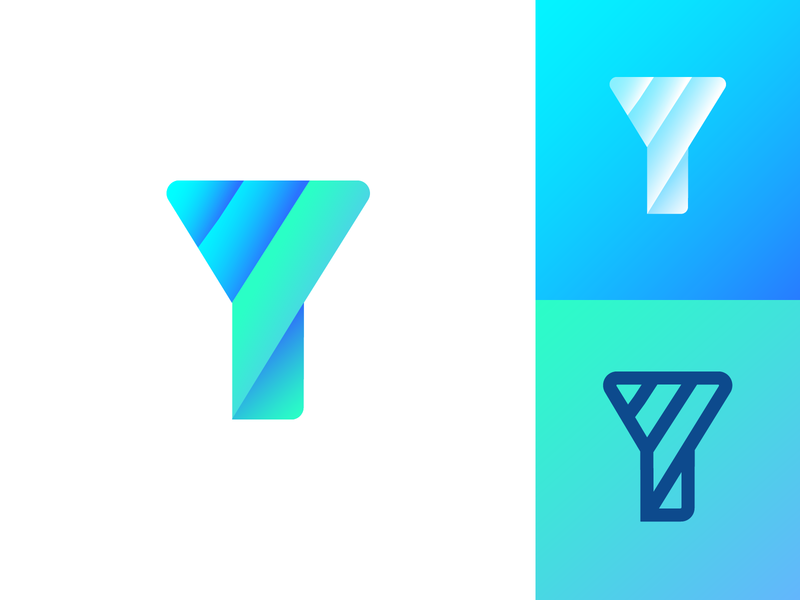 Letter Y Dribbble Exploration Concept 03 gradient shade modern color design ui app startup social media marketing share type text typography typeface brand identity branding graphic logo mark symbol icon letter lines solid thick