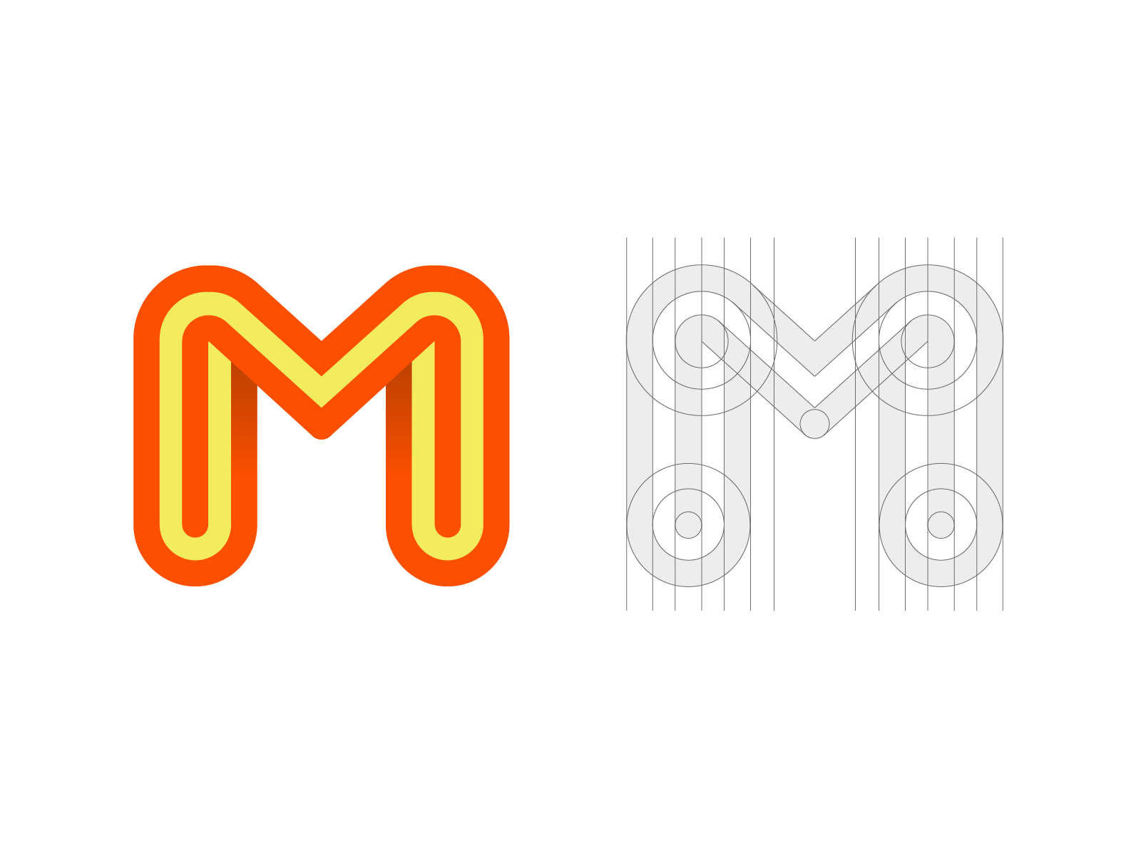 Double M Monogram (w/ Video Process) marketing social media startup 2d shadow grid guides custom letter mark word type typography typeface text design letter m orange brand identity branding graphic logo mark symbol icon